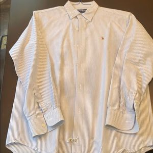Ralph Lauren boys size 18 blue and white shirt